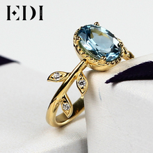 EDI Classic Original Design 2017 New Rings Natural Blue Topaz Wedding Real 925 Sterling Silver 18K Gold Rings for Women