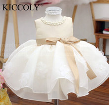Champagne Summer Sleeveless girls Tutu Dresses For Wedding,Girl Christening Gown,infant birthday outfit Princess(China)