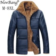 NewBang Brand 6XL 7XL 8XL Faux Fur Coat Men's Leather Jacket Plus Thick Warm Leather Jackets And Coats Male Motorcycle Jacket(China)