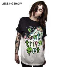 JESSINGSHOW New Summer Style Fashion T Shirt Loose Short Sleeve T-Shirt Alien UFO Print Women O-neck TShirts Girls Tees Tops(China)