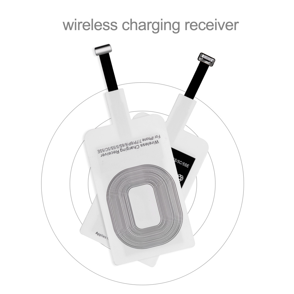 Proelio Universal Qi Wireless Charger Receiver For iPhone 5S SE 7 6S 6 Plus Pad Android Micro USB Type C Smart Charging Receptor (12)