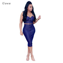 Sexy Women Denim Crop Top and Skirt Two Piece Sets Summer Strapless Button Blue Jeans High Waisted Boydcon 2 Piece Outfits Suits(China)