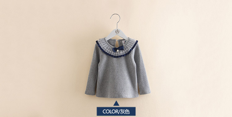 2018 Spring Autumn 100% Cotton White Grey Pink Solid Color Long Sleeve Pleated Turn-Down Collar Neck T Shirt For Girls 10 Years (2)