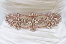MissRDress Crystal Wedding Belt Handmade Beads Bridal Sash Rose Gold  Rhinestones Bridal Belt For Wedding Long Dresses JK877 d546c4e8f0c9