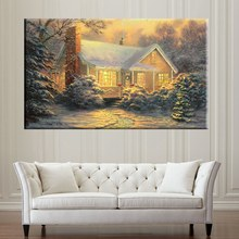 High Quality Picture Thomas Kinkade Wall Art Giclee Prints Cottage Snow Night Landscape Painting for Living Room Decor Custom