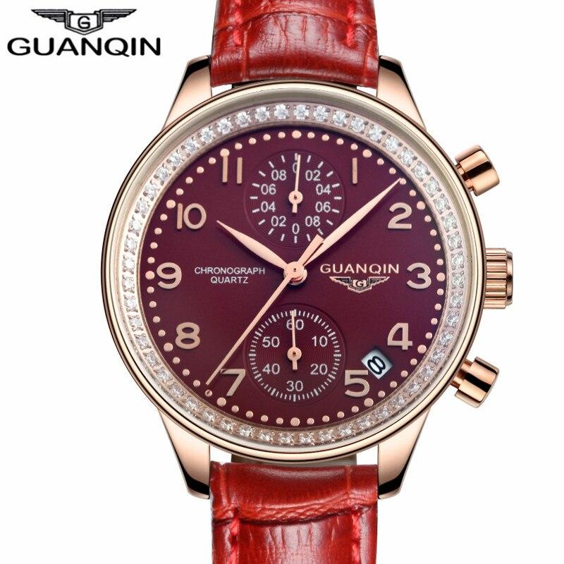 GUANQIN Watches Women 2016 New Luxury Jewelry Leather Quartz Watch Ladies Fashion Casual Chronograph Date Clock relogio feminino<br>