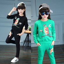 Children's Garment Autumn Clothing 2017 Korean Pullover Long Sleeve T Leisure Time Trousers Girl Suit 2 Pieces(China)