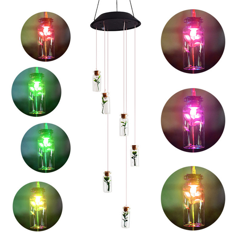 Solar Color-Changing Wind Chime Light LED Garden Hanging Spinner Lamp Color Changing Wind Chime Light Luces 40JUN252