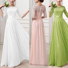 Summer Women Dress Ladies Formal Long Lace Chiffon Dresses Prom Bridesmaid Wedding Prom Solid Vestido