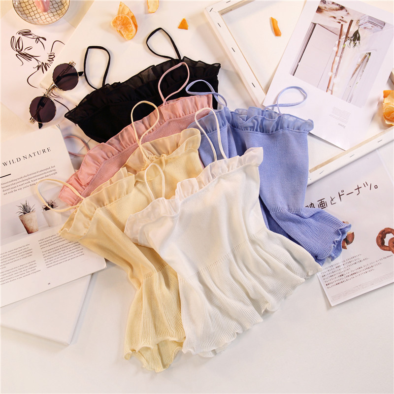 Women Fashion Knitting Patchwork Chiffon Ruffles Neck Cropped Tanks Tops Girls Knitted Tee shirts Camis crop Tops Female 2