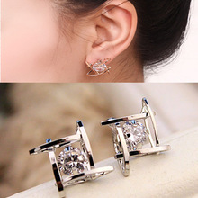 The New Square Zircon Earrings Well Character Bronze Earrings Geometric Hollow Hollow Earrings Zirconia Earrings Through Sale(China)