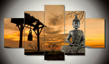 Canvas painting new 5 Pieces/set Wall Art Buddha Group Painting Print On Canvas Wall for Living Room Decoration For Home\C-897