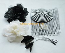 White black PP straw base veiling silk flower satin headband feathers fo Wedding fascinator kentucky derby Races.