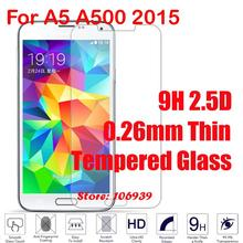Anti-Scratch New Cheap 9H 2.5D 0.26mm Phone Accessories Cell Glass Screen Protector For Samsung Galaxy A5 A500 2015 A 500F