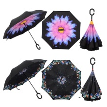 Stylish C-Handle Windproof Double Upside Down Layer Inverted Folding Umbrella Windproof Reverse Folding Double