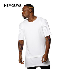 HEYGUYS 2017 hip hop t shirts men oversize t-shirts black white Fake two pieces length captain america t shirt fashion(China)
