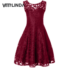 VESTLINDA Plus Size 4xl 5xl Solid Lace Vintage Party Dress 2017 Autumn Women Sleeveless A-Line Midi Dresses Elegant Vestidos