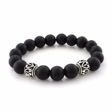 Wholesale 2017 New Arrival Mens Beaded Jewelry 8mm Black Matte Stone Beads Bracelets Party Gift Yoga Jewelry For Women Lovers(China)