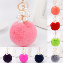 6 colors Key Chains OTOKY Hot Fashion Fur Ball Cell Phone Car Keychain Pendant Handbag Charm Key Ring Gifts May2917