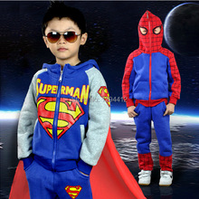Free shipping child boy outwear Spider-Man superman suit costume long sleeve hooded zipper jacket boy anime cosplaySpring autumn