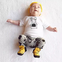 New 2017 Summer baby boys girls Romper baby clothes s cotton Cartoon short-sleeved T-Shirt+pants newborn baby clothing