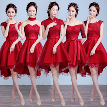sexy ladies short front back long wine red bridesmaid dresses womens brides maid burgundy bride high low tulle dress S3873