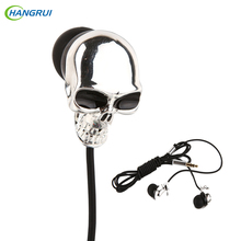 HANGRUI Personality Metal In ear earphone skull head Earplug Super Bass Headset Wired Control Earbud For xiaomi Mi5 smartphone