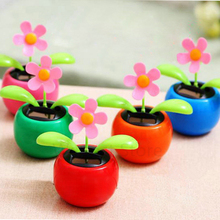 Flip Flap Solar Apple Dancing Sunflower Auto Solar Swing Ornament Car Decoration Power Flowerpot Plant Car Interior Toy Gifts(China)