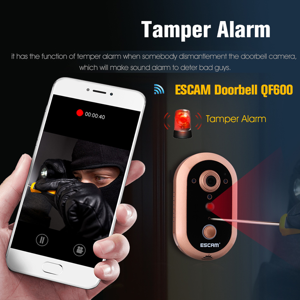 Fashion Escam Doorbell IP Camera QF600 HD 720P 1MP Indoor Smart WIFI Infrared Day/Night vision PIR Alarm Mini Camera Gold<br><br>Aliexpress