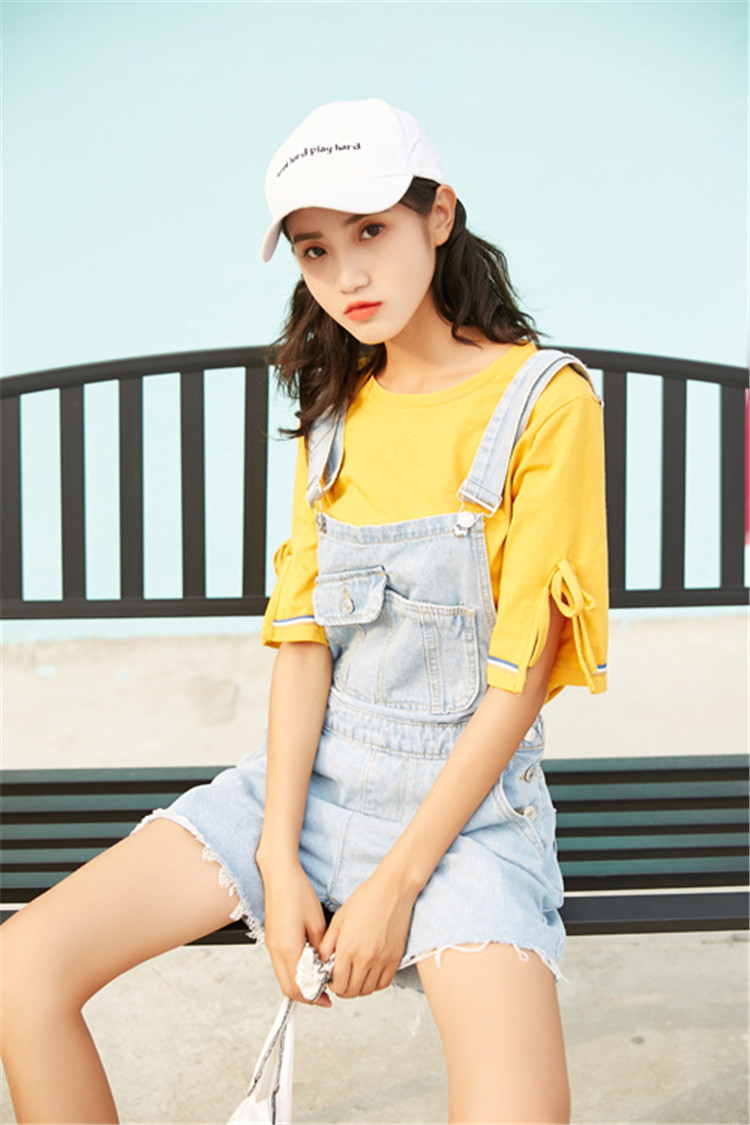 Summer new college style sweet diagonal personalized pockets skirts pants denim shorts female (4)