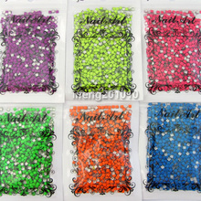 6 Sweet Colors 3MM square metal acrylic 3D nail art decoration rhinestone Neon studs cell phone accessories(China)