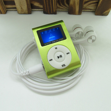 Sport MP3 Player with LCD Screen Metal Mini Clip MP3 Music Player Earphones USB Cable with Micro TF/SD Card Slot(China)