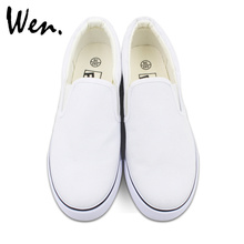Wen Customize White Slip On Hand Painted Canvas Shoes Offer Pictures You Like to Design Accept Bargain According to Complexity(China)