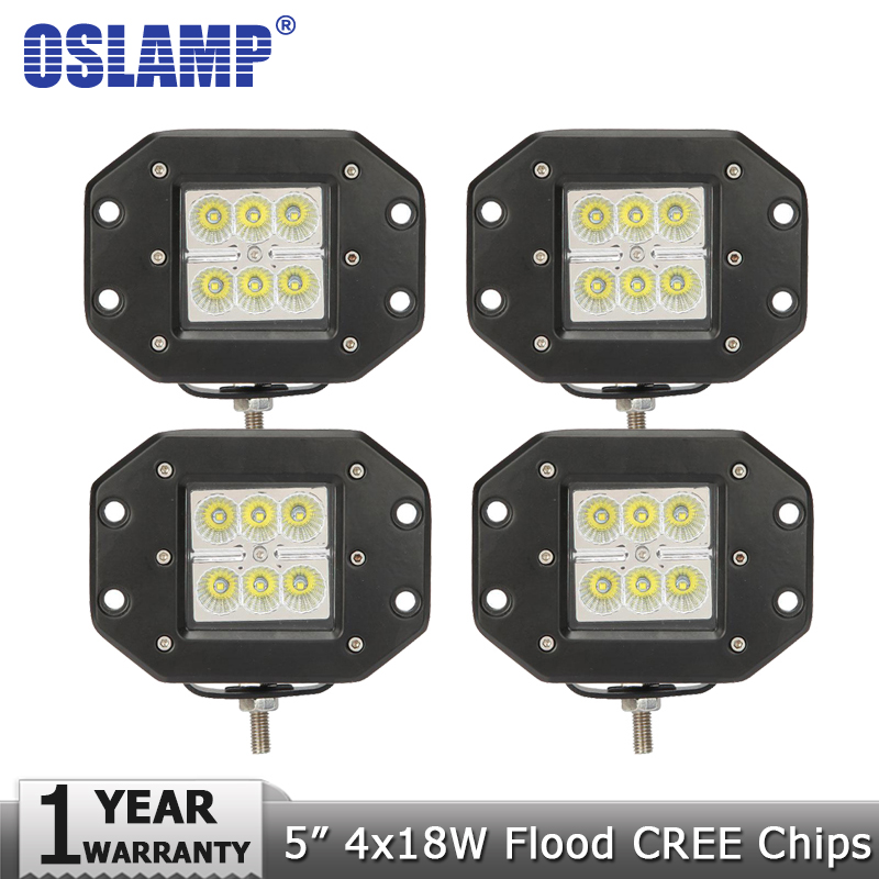 Oslamp 18W Flush Mount CREE Chips LED Work Light Flood Offroad Led Driving Headlight for Jeep/Ford/Toyota 12v 24v Truck Pickup<br><br>Aliexpress