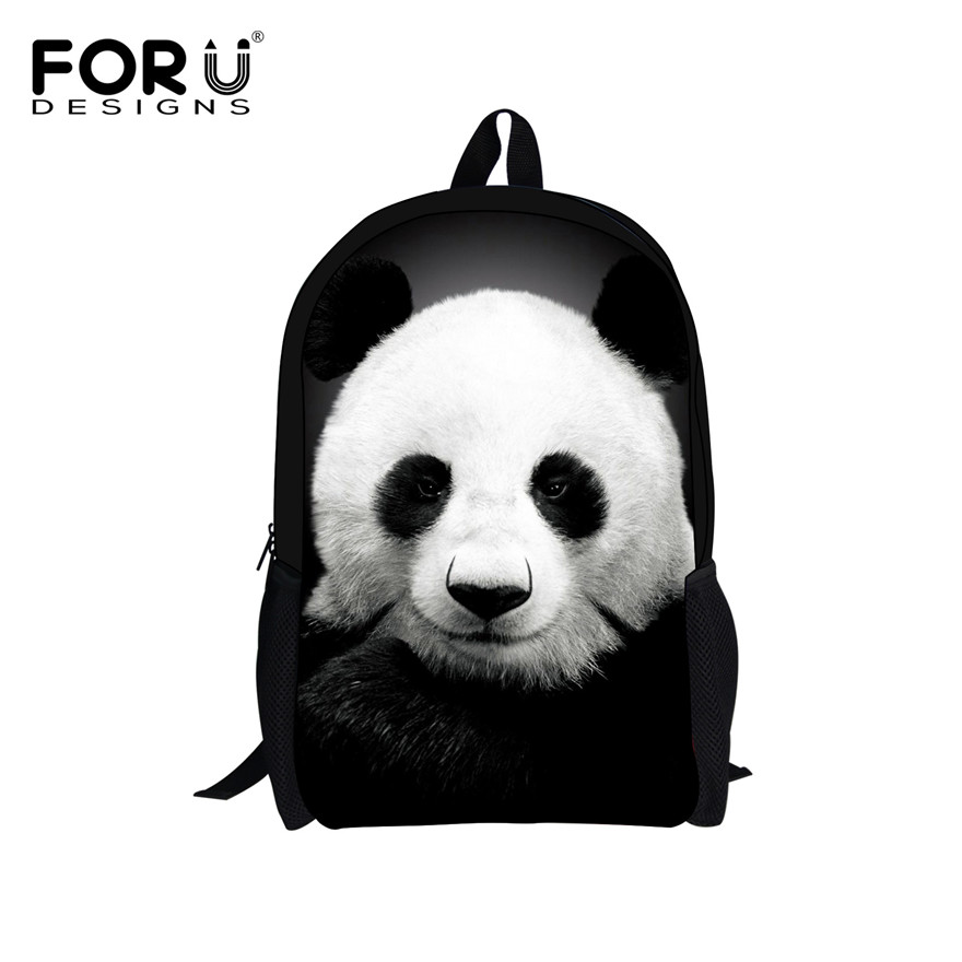 FORUDESIGNS Cute Kids Backpack Canvas Bagpack Pandan Owl Wolf Animal Printing Children School Bag for Teenage Boy Girls Rucksack(China (Mainland))