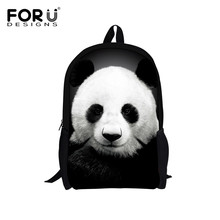 FORUDESIGNS Cute Kids Backpack Canvas Bagpack Panda Owl Wolf Animal Printing Children School Bag for Teenage Boy Girls Rucksack(China)