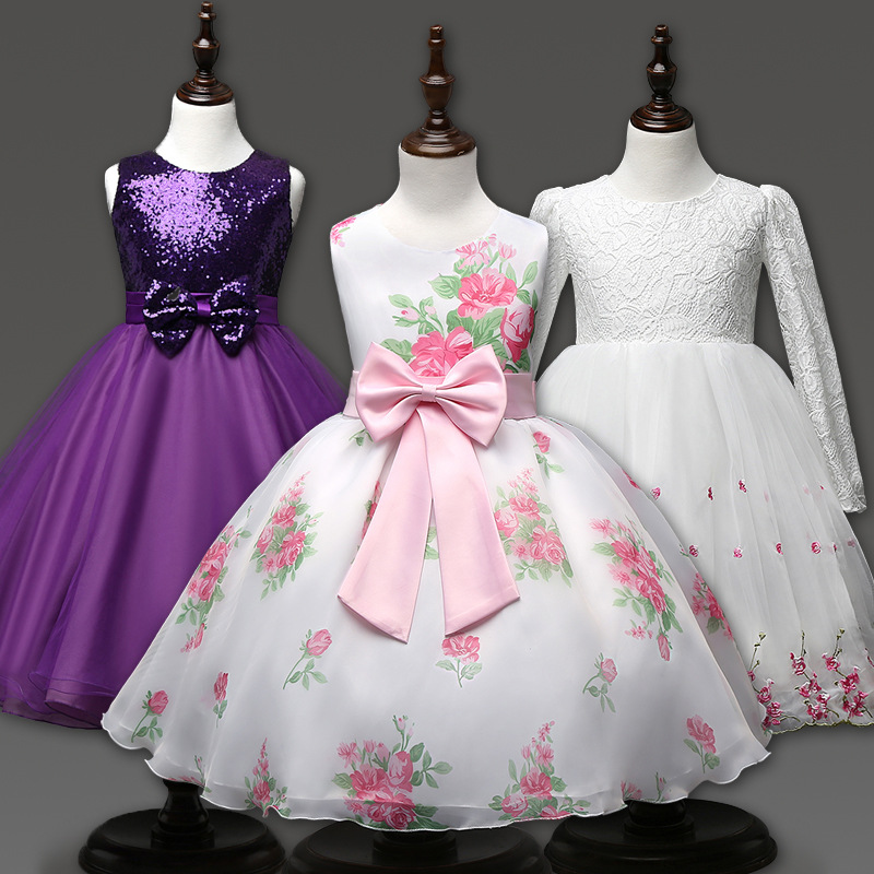 2017 New Real Girl Dress Summer High-grade Wedding Dresses Children Embroidered Party Dresse Bridesmaid Kids Clothes 100-160cm <br><br>Aliexpress