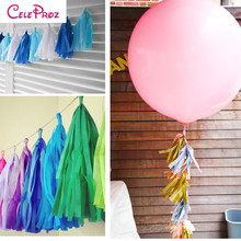 5Pcs/Lot Tissue Paper Tassel Garland DIY Wedding Backdrop Decor Baby Shower Party Event Decor Party Supplies 14 Inch(China)