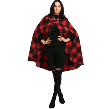 CharMma 2017 Winter Tartan Cape Coat Women Plaid Hooded Batwing Sleeve Long Cloak Overcoat Autumn Casual Womens Outerwear Coats(China)