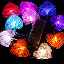 Colorful Small Night Light Birthday Party Holiday Wedding Decoration supplies Colorful 10 heart led battery lighting string Lamp