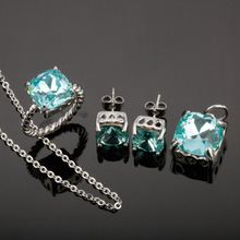 earrings necklace and rings in stainless steel jewelry set blue crystal jewelry