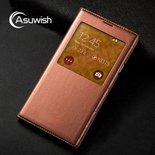 Asuwish Flip Cover Leather Case For Samsung Galaxy S5 G900 G900F G900H G900M Phone Case Smart View Sleep Wake With Original Chip