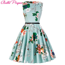 Women Summer Dress Floral Patterns 2017 Womens Clothing Audrey Hepburn Robe Retro Swing Casual 50s Vintage Rockabilly Dresses(China)