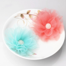 2017 New Design Women 2 Use Chiffon Flowers Hairpins Elegant Hair Accessories Girls Lace Pearl Hairclips Brooch for swimsuit