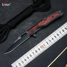 Enlan EW009 8Cr13Mov Blade Wood Handle Folding Knife Camping survival Pocket Knife Utility Tactical Hunting tool EDC Knifes Gift
