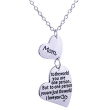 Buy Bespmosp Love Mom Family Double Heart Charm Chain Pendant Necklace Mothers Day Women Jewelry Mommy Fashion Gifts New for $1.33 in AliExpress store