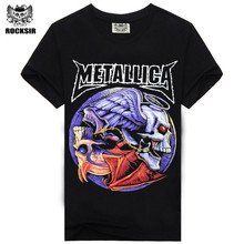 100% cotton summer tees printed T-shirt Rock Band Metallica big size mens t shirts Rock n Roll Black Color S-XXXL Size T-shirt