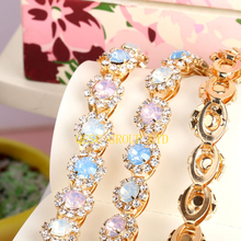 Blue pink multicolor rhinestone band DIY fascinator crown Wedding Accessory evening bag dress belt collar hat hair ornament(China)