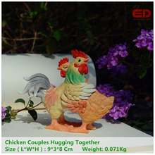 Everyday Collection Country Style Chicken Couple Figurine Home Furnishing Vintage Resin Decoration Unique Gift for Your Love