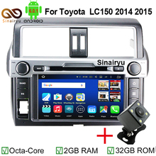 Quad core Android 6.0.1 2Din 1024*600 Car DVD Player Radio Screen Stereo PC Audio For Toyota Land Cruiser Prado LC150 2014 2015